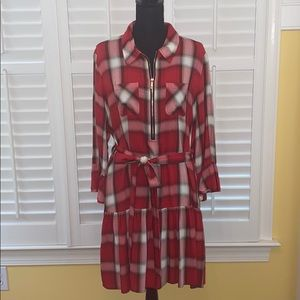 Tommy Hilfiger Red Plaid Ruffled Shirtdress
